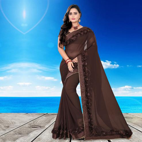 Riva Enterprise Women's Arrivals Festival Heavy Border Ribbon Stone Work Brown Color Saree