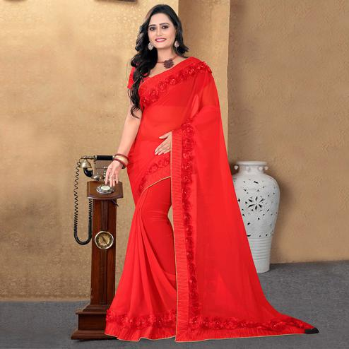 Riva Enterprise Women's Arrivals Festival Heavy Border Ribbon Stone Work Red Color Saree