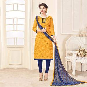 Yellow-Blue Designer Embroidered Cotton Dress Material
