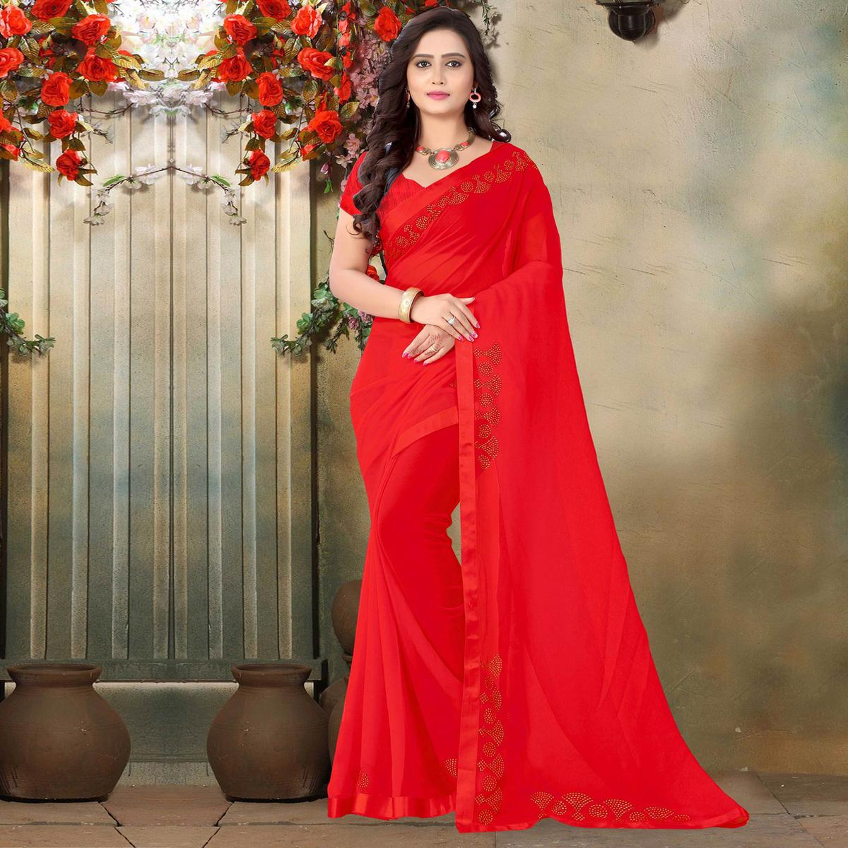 Riva Enterprise Women's Festive Georgette Stone Work Red Color Saree With Blouse