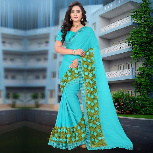 Riva Enterprise Women's Chiffon Grass Flower Work Sky Blue Saree With Blouse Piece