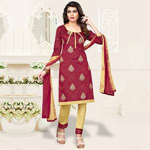 Maroon-Beige Colored Embroidered Jacquard Dress Material