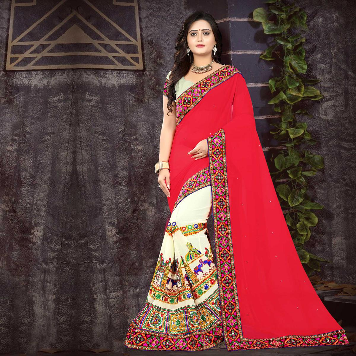 Riva Enterprise Women's Embroidered Half And Half Pink And Off White Color Saree With Blouse