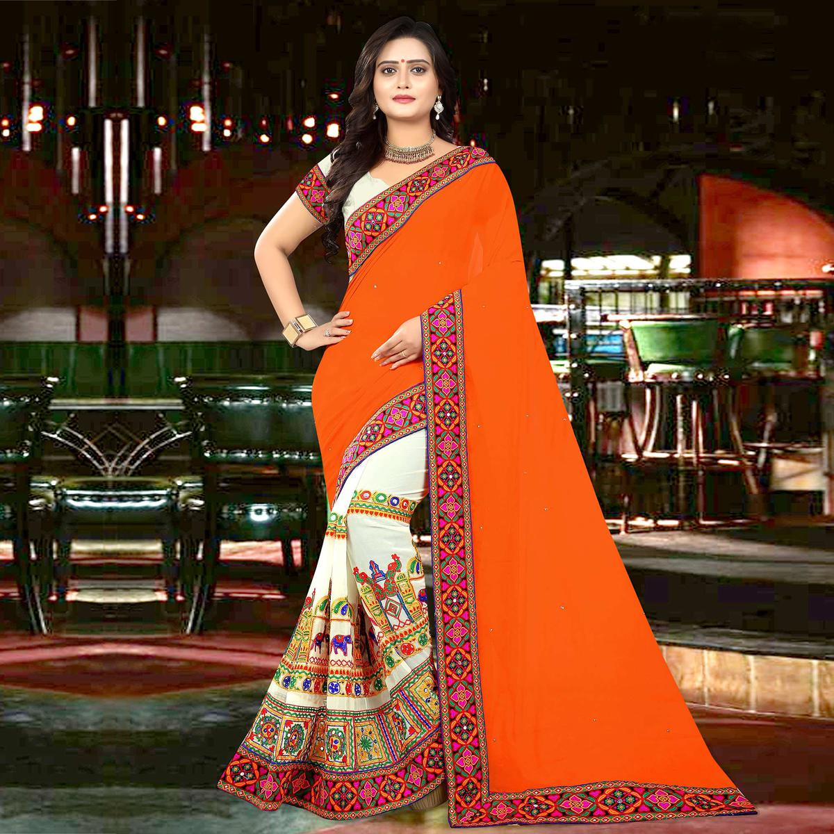 Riva Enterprise Women's Embroidered Half And Half Orange And Off White Color Saree With Blouse