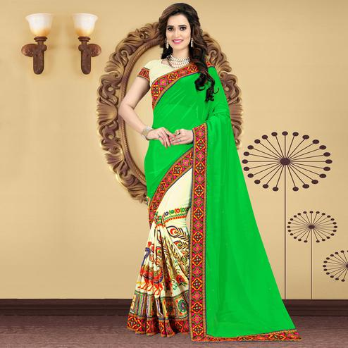 Riva Enterprise Women's Festive Embroidered Parrot  Green And Off White Color Half & Half Saree With Blouse