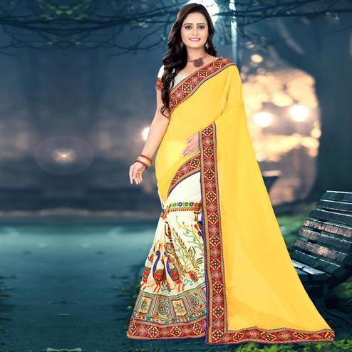 Riva Enterprise Women's Festive Embroidered Yellow And Off White Color Half & Half Saree With Blouse