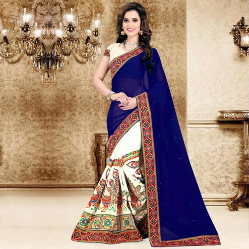 Riva Enterprise Women's Festive Embroidered Navy Blue And Off White Color Half & Half Saree With Blouse