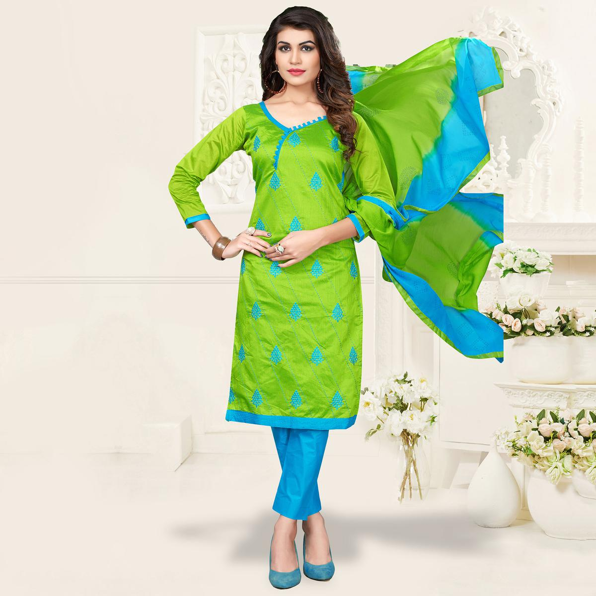 Green-Blue Colored Embroidered Jacquard Dress Material