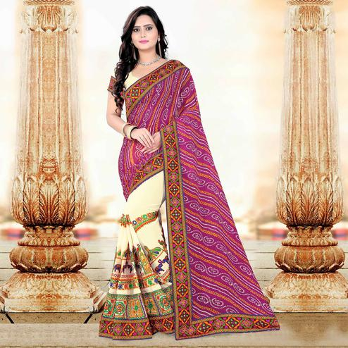 Riva Enterprise Women's Arrivals Festival Bandhani Pallu Embroidered Beige And Pink Color Half & Half Saree
