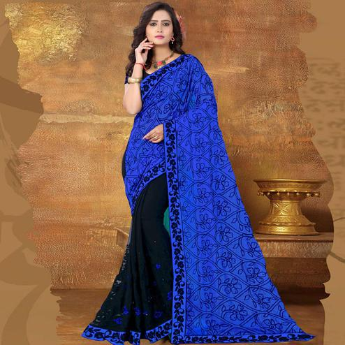 Riva Enterprise Women's Georgette Embroidered Half And Half Pallu Black And Blue Saree