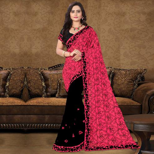 Riva Enterprise Women's Georgette Embroidered Half And Half Pallu Black And Pink Saree