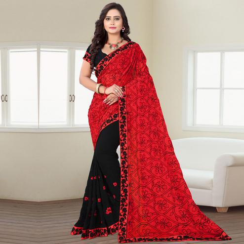 Riva Enterprise Women's Georgette Embroidered Half And Half Pallu Black And Red Saree