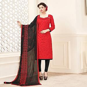 Red-Black Designer Embroidered Cotton Dress Material