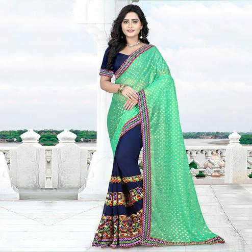 Riva Enterprise Women's Lycra Pallu Embroidered Navy Blue And Sky Blue Color Half & Half Saree With Blouse