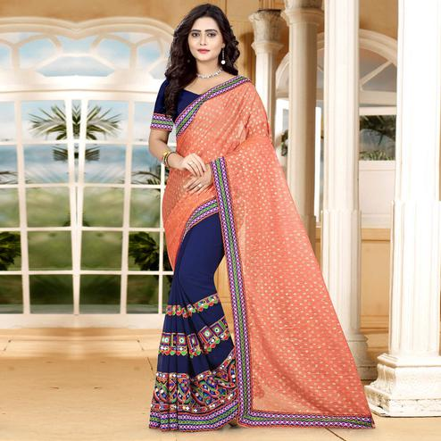 Riva Enterprise Women's Lycra Pallu Embroidered Orange And Navy Blue Color Half & Half Saree With Blouse