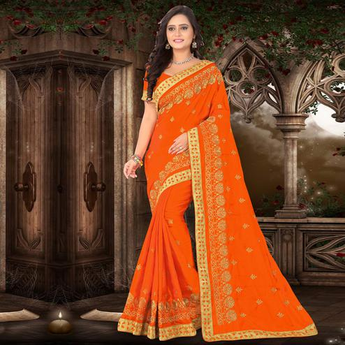 Riva Enterprise Women's Paper Silk Pallu Embroidered Work Orange Color Saree With Banglory Blouse