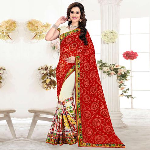 Riva Enterprise Women's Red And Beige Color Half And Half Georgette Embroidered Work Bandhani Pallu Saree