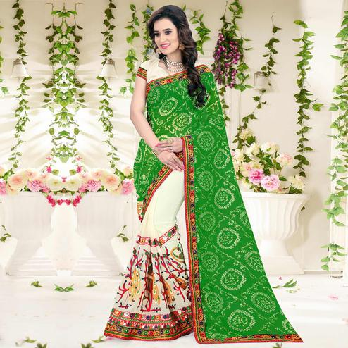 Riva Enterprise Women's Green And Beige Color Half And Half Georgette Embroidered Work Bandhani Pallu Saree