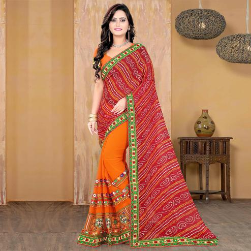 Riva Enterprise Women's Half And Half Bandhani Pallu Red And Orange Color Saree