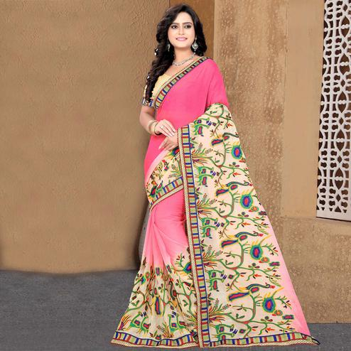Riva Enterprise Women's New Peding Design Embroidered Work Pink Color Saree