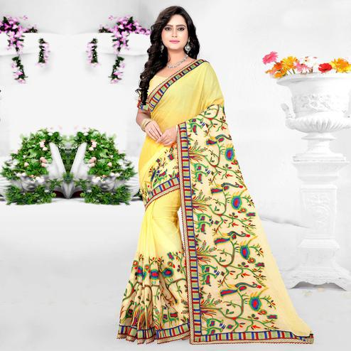 Riva Enterprise Women's New Peding Design Embroidered Work Yellow Color Saree