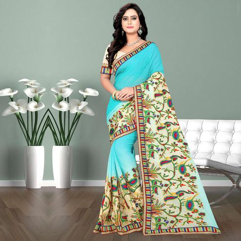 Riva Enterprise Women's New Peding Design Embroidered Work Sky Blue Color Saree