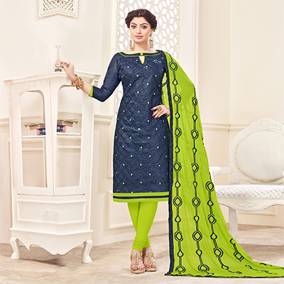 Navy Blue-Green Designer Embroidered Cotton Dress Material