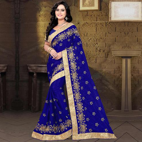 Riva Enterprise Women's New Arrival Chinon Silk Embroidered Work Design Navy Blue Color Saree