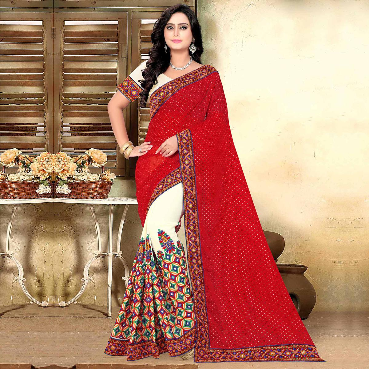 Riva Enterprise Women's Half And Half Red And Off White Color Pallu Saree With Blouse