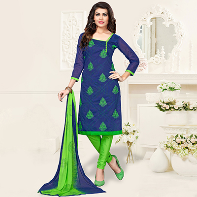Blue-Green Colored Embroidered Jacquard Dress Material