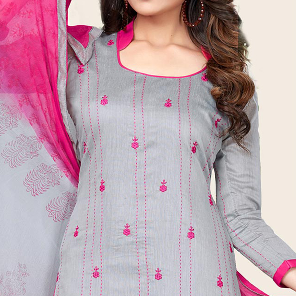 Gray-Pink Colored Embroidered Jacquard Dress Material