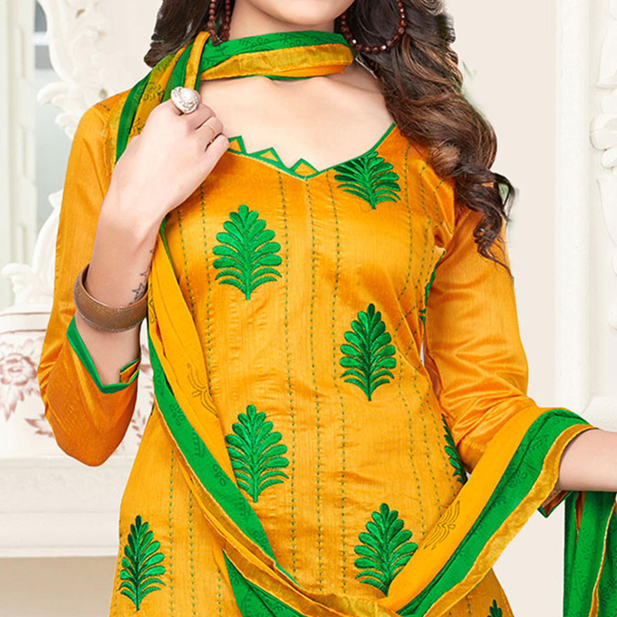Yellow-Green Colored Embroidered Jacquard Dress Material