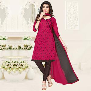 Pink-Brown Colored Embroidered Jacquard Dress Material