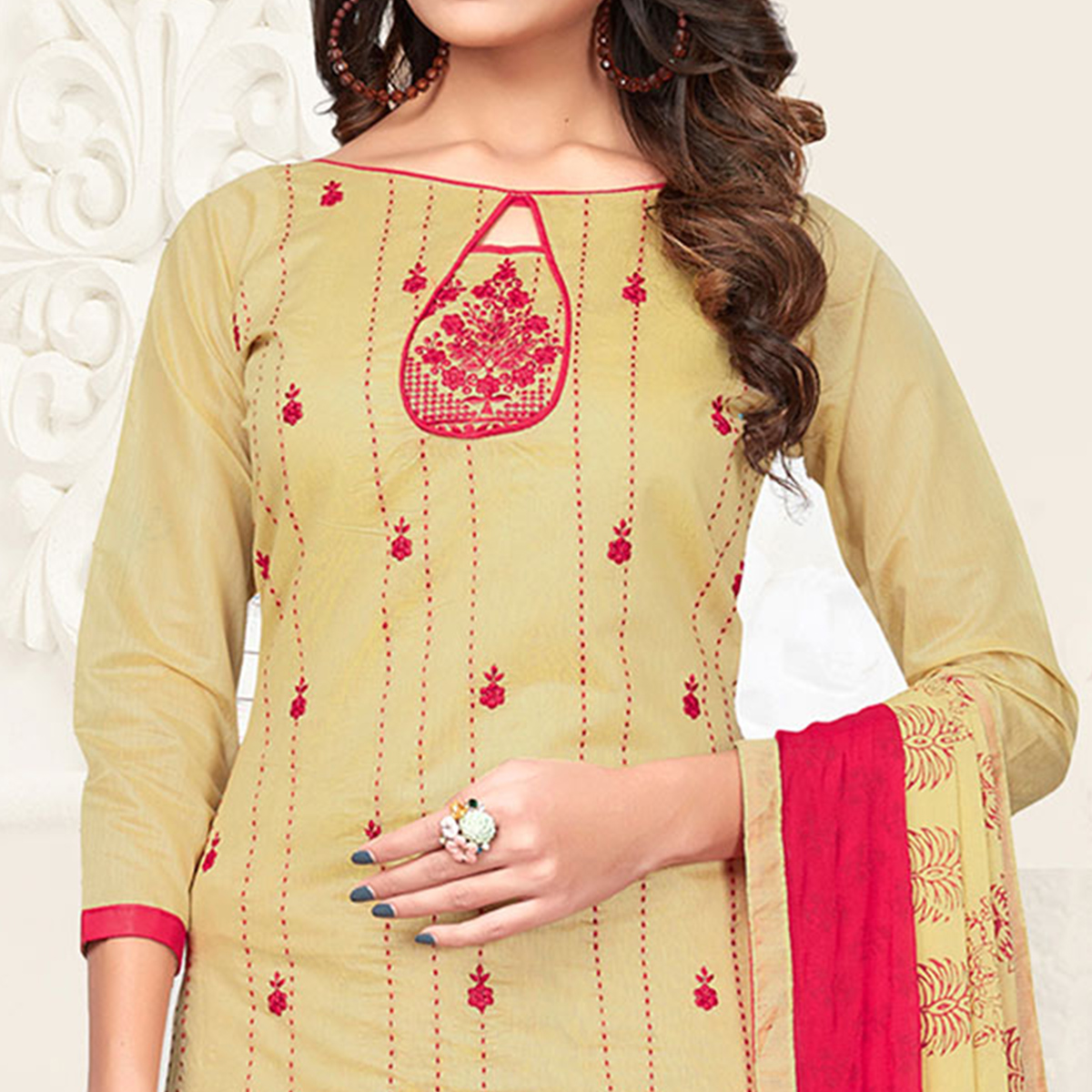 Beige-Red Colored Embroidered Jacquard Dress Material