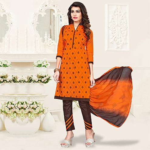 Orange-Brown Colored Embroidered Jacquard Dress Material