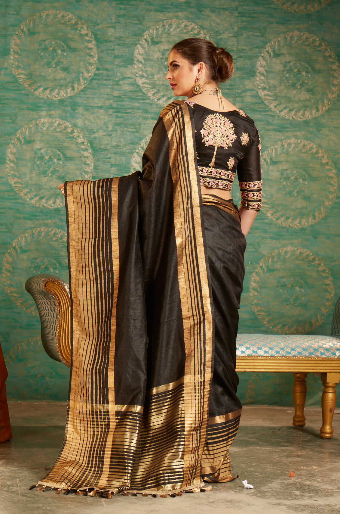 Black Colored Designer Festive Wear Zoya Silk Saree