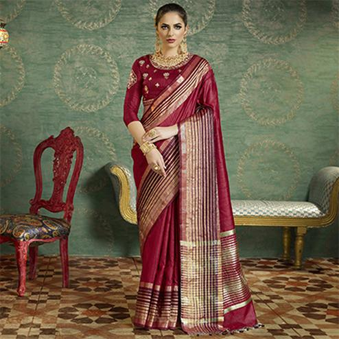 Maroon Colored Designer Festive Wear Zoya Silk Saree