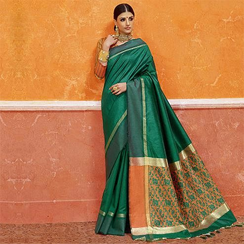 Green Colored Designer Festive Wear Zoya Silk Saree