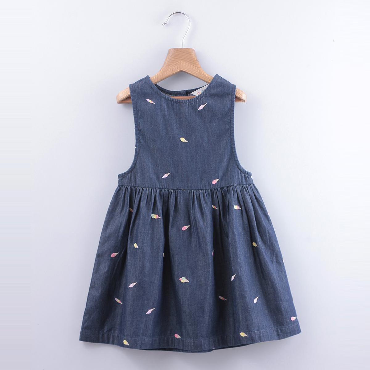 Beebay - Blue Colored Ice Cream Embroidery Cotton Dress For Girls