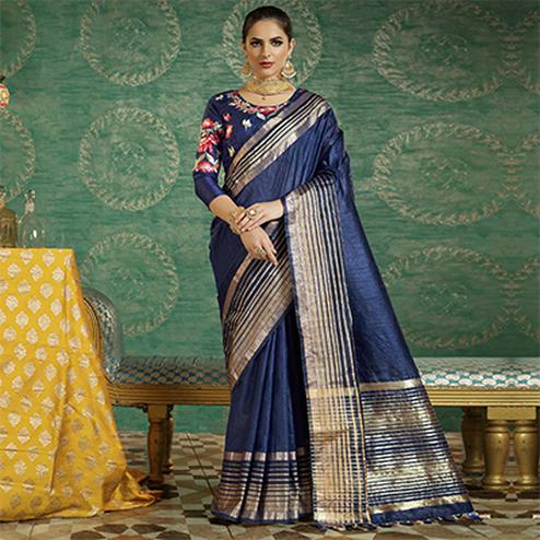 Navy Blue Colored Designer Festive Wear Zoya Silk Saree
