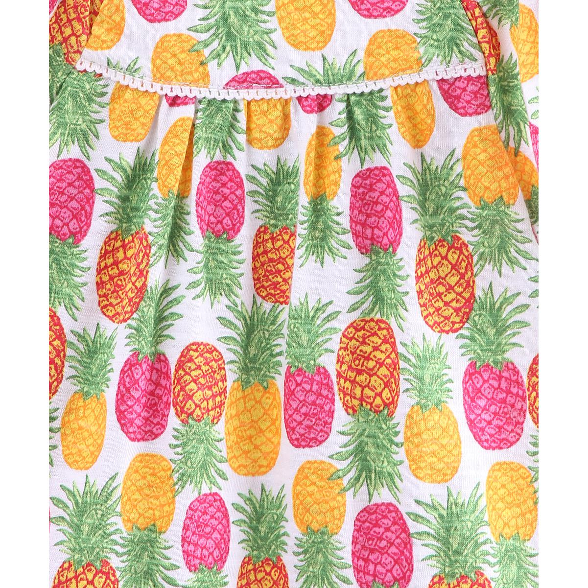 Beebay - Multi Colored Pineapple Print Cotton Dress For Girls