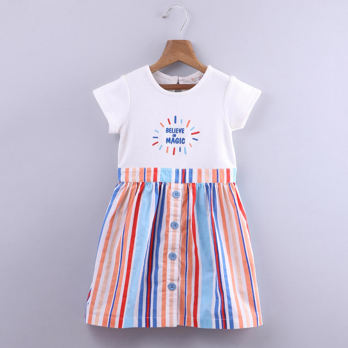 Beebay - Multi Colored Embroidered Stripe Cotton Dress For Girls