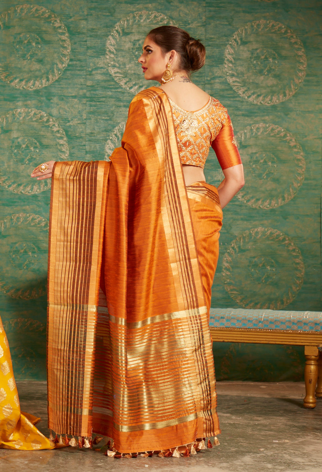 Orange Colored Designer Festive Wear Zoya Silk Saree