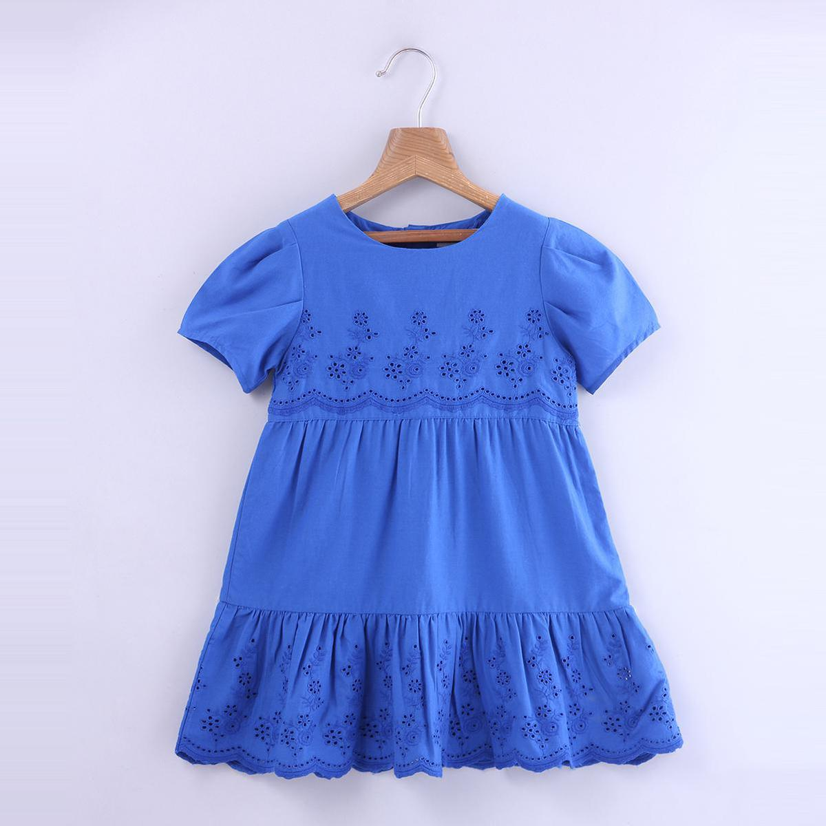 Beebay - Blue Colored Schiffli Embroidered Cotton Dress For Girls