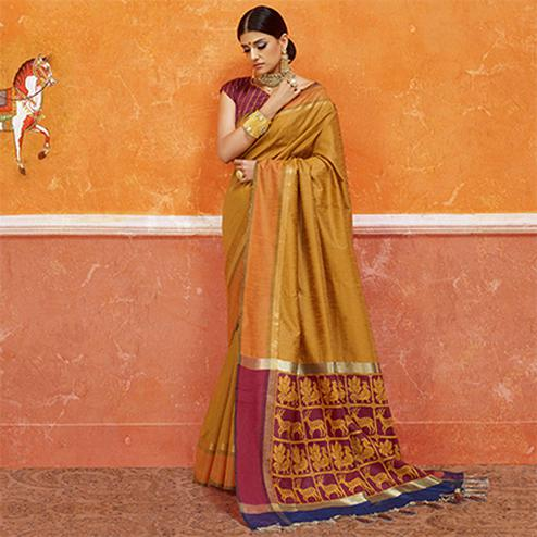 Yellow Colored Designer Festive Wear Zoya Silk Saree