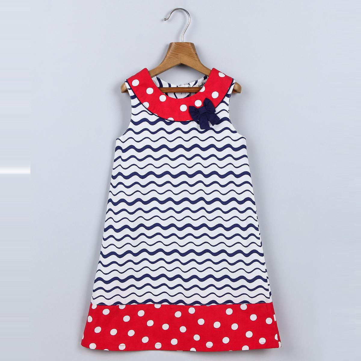 Beebay - Red Colored A-Line Polka Dot Bow Cotton Dress For Girls