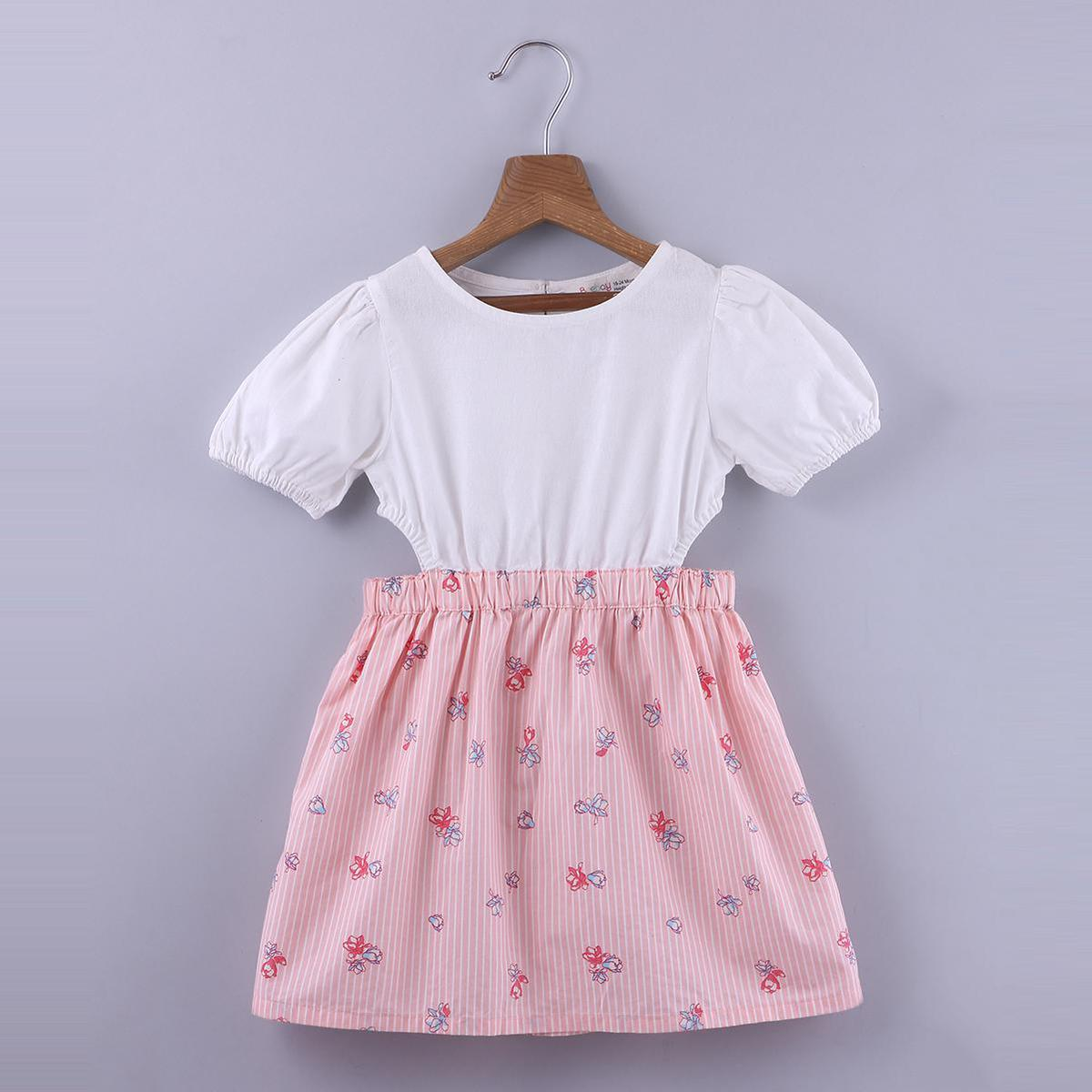 Beebay - Peach Colored Floral Print Cut-Out Cotton Dress For Girls