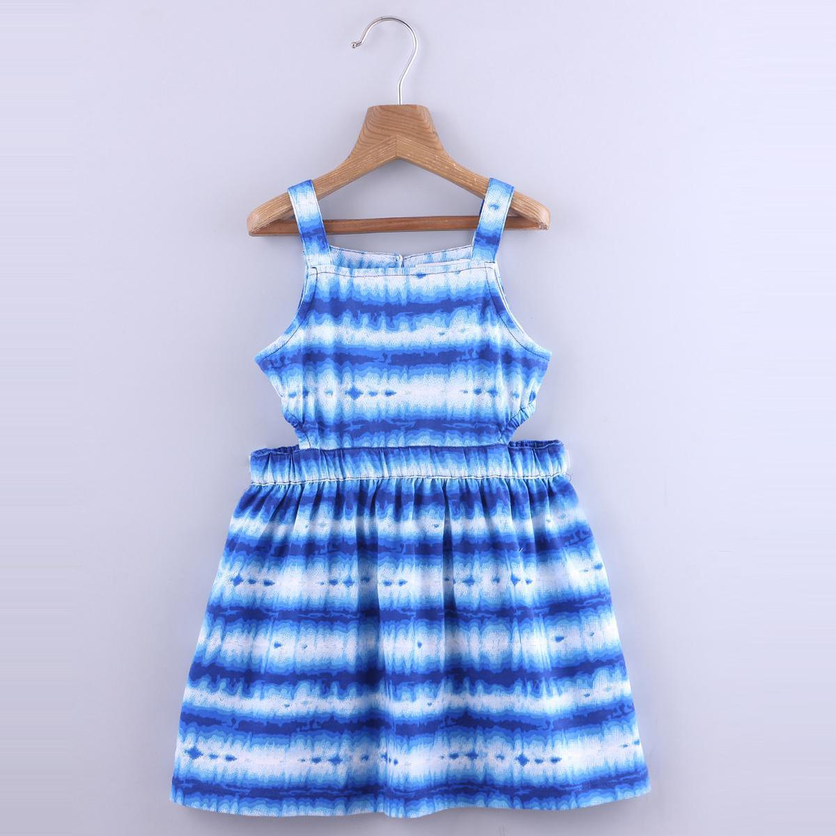 Beebay - Blue Colored Tie-Dye Cut-Out Cotton Dress For Girls