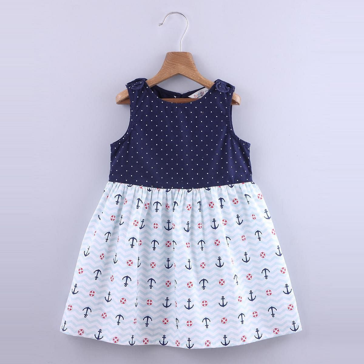 Beebay - Blue Colored Anchor Print Bow Cotton Dress For Girls