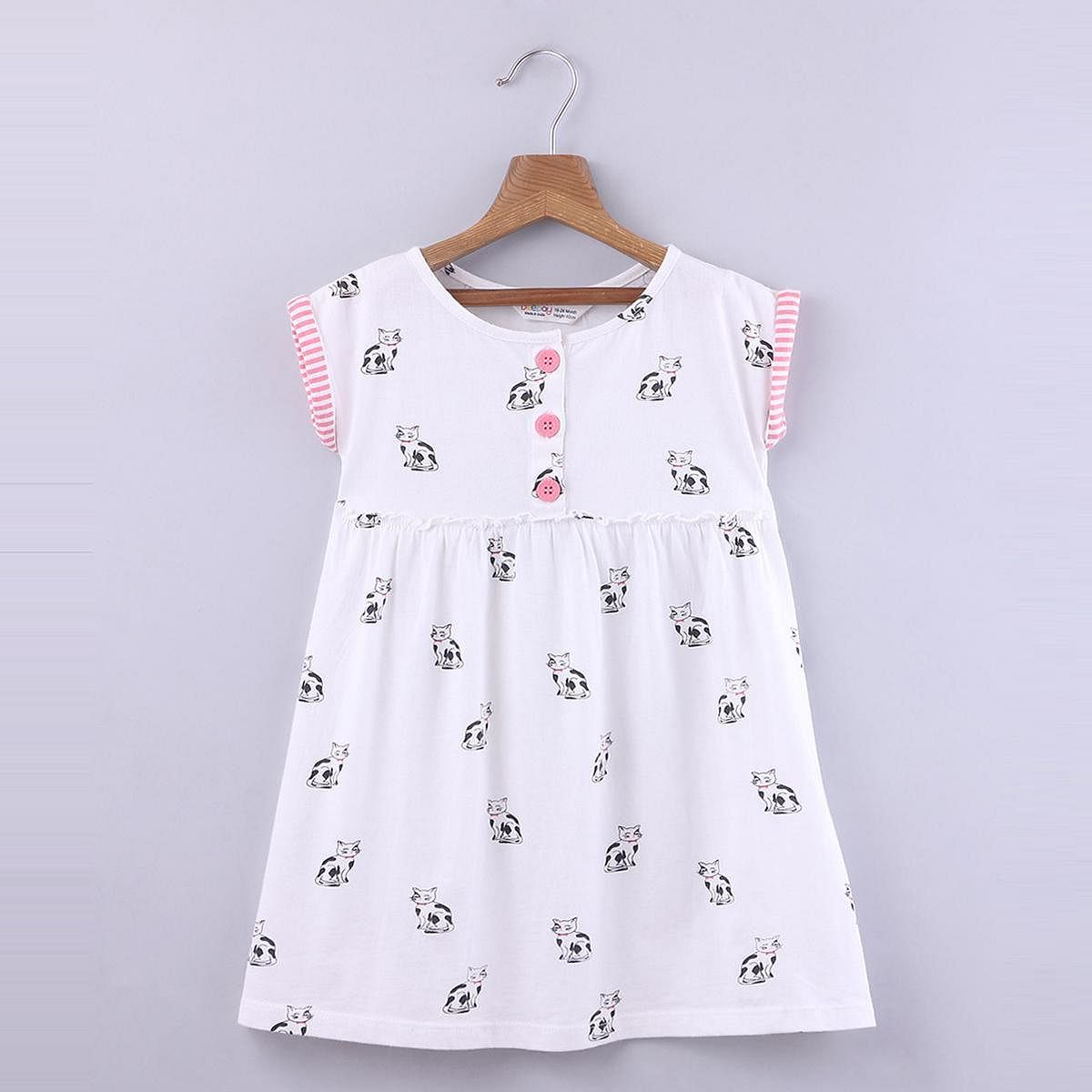 Beebay - White Colored Cat Print Jersey Cotton Dress For Girls